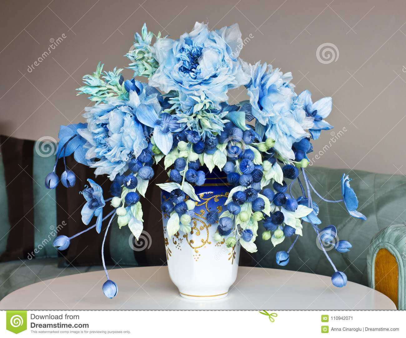 Bouquet With Blue Large Flowers And Closed Buds Artificial Flow Stock Image Image Of Green Gift 110942071
