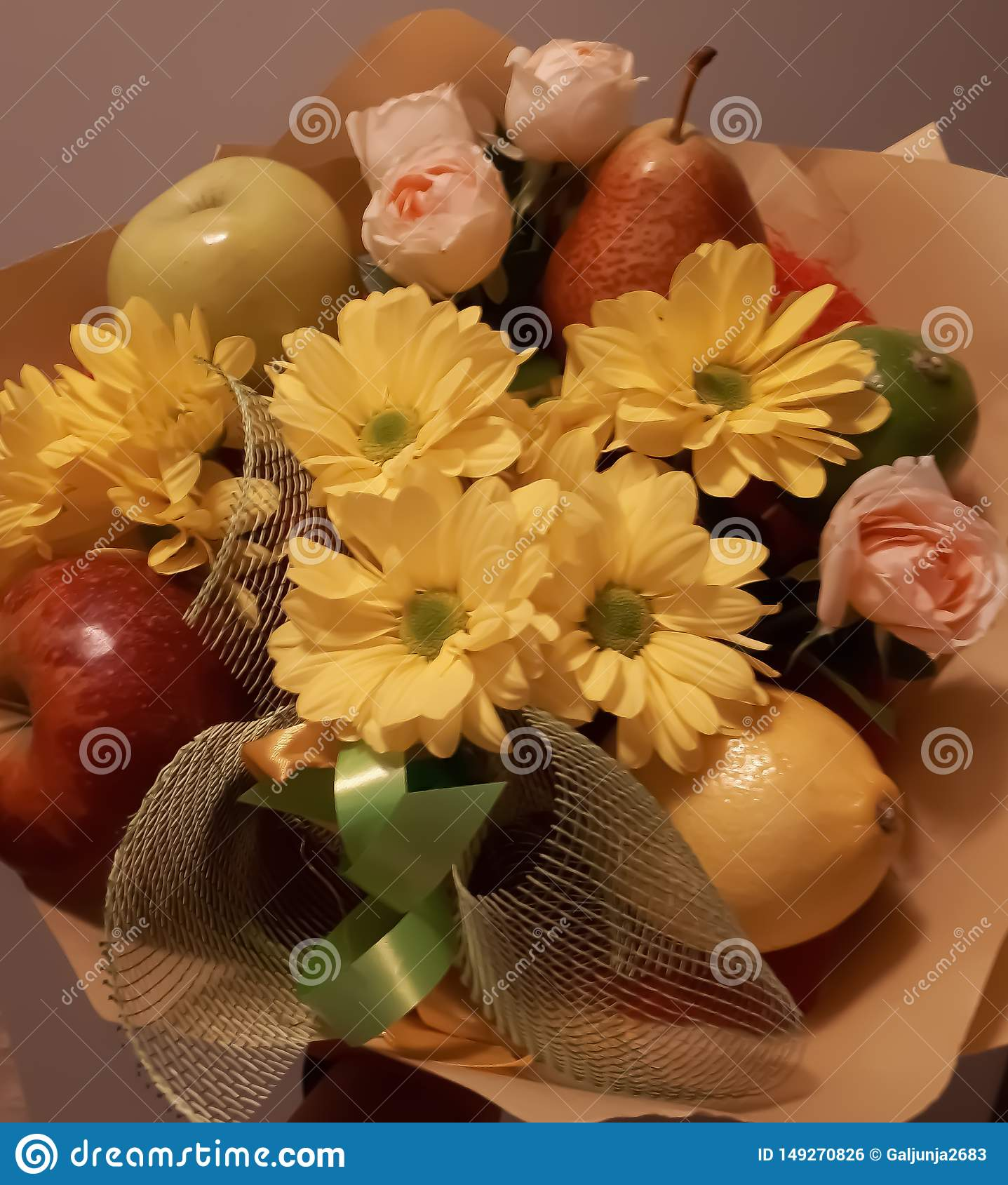 Bouquet, fruit, flowers, beautiful, bright, colourful
