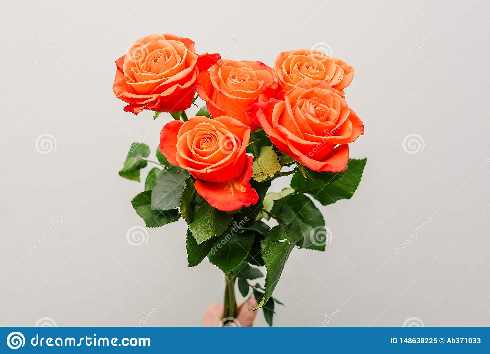 A bouquet of bright flowers. Fresh colorful roses in girl`s hand. Close-up of flowers. Flowers for mom. The concept of wedding,