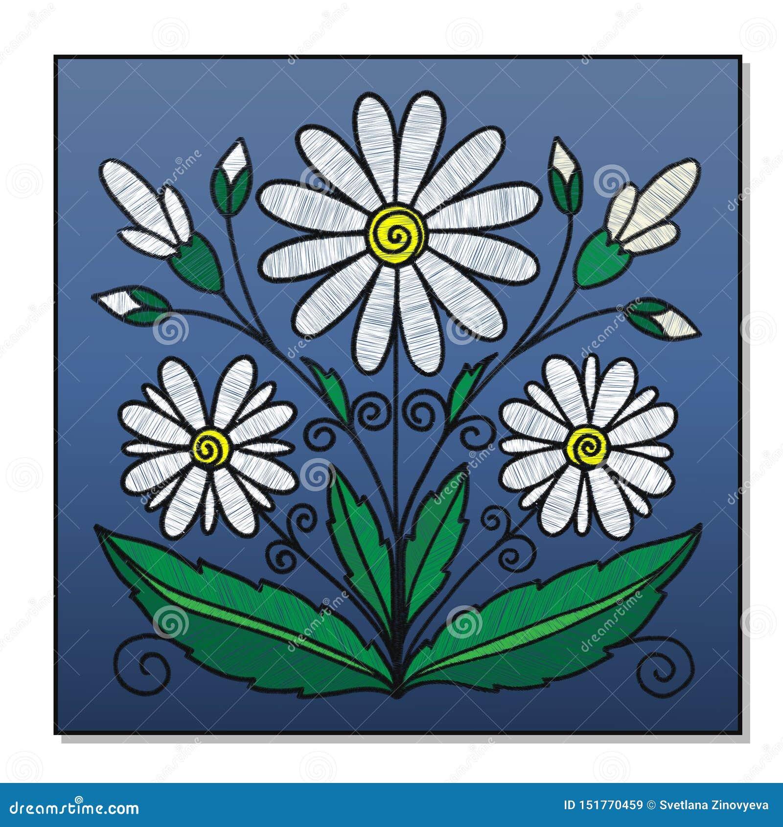 Bouquet brodé des marguerites sur un fond bleu