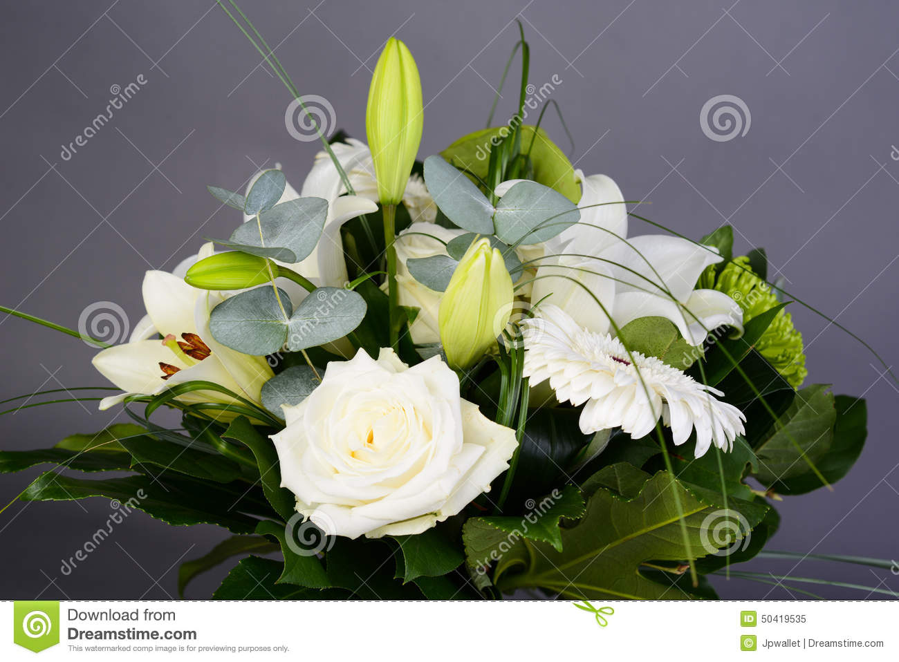 Bouquet Bunch Of Beautiful White Flowers With White Roses ...