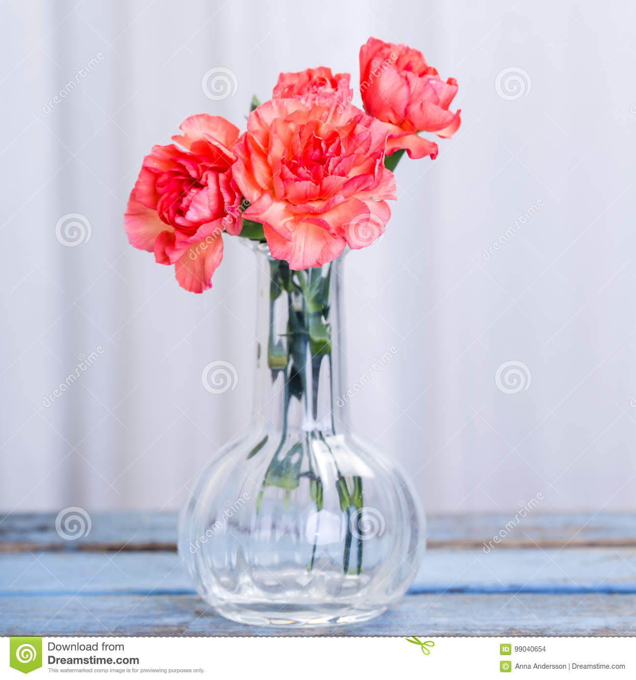 Bouquet of Carnations in glass vase