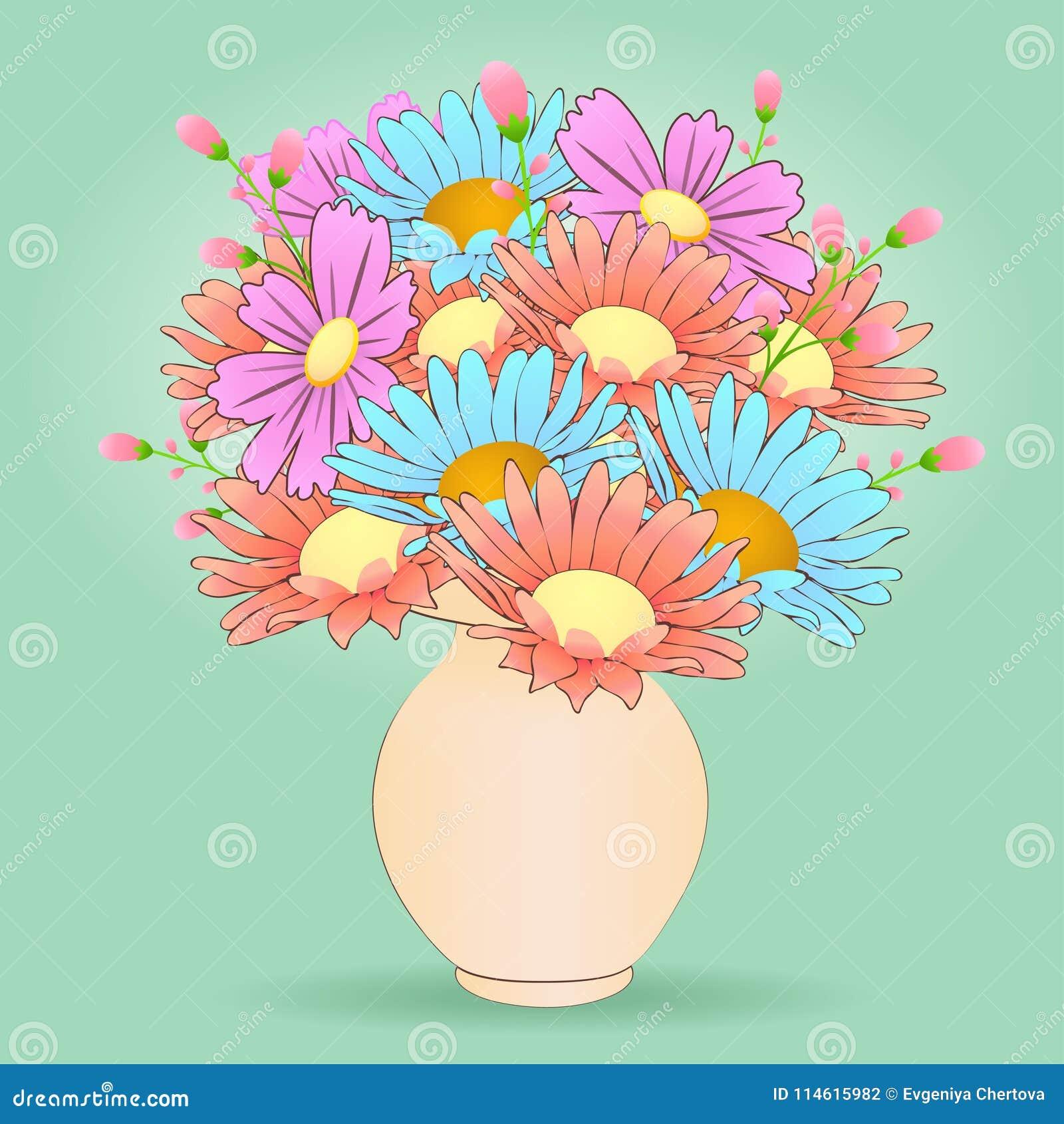 Bouquet of cartoon flowers in the vase vector hand drawn colorful bouquet of cartoon flowers in the vase vector hand drawn colorful izmirmasajfo