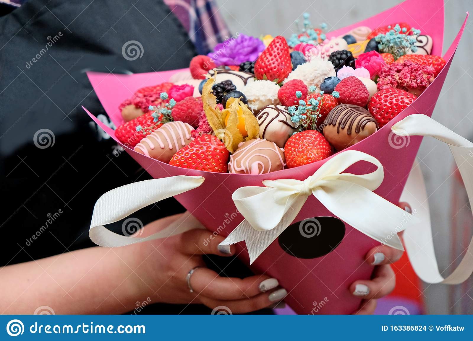 A Bouquet Of Chocolate Covered Strawberries With Different Toppings Stock Photo Image Of Decorated Flavor 163386824