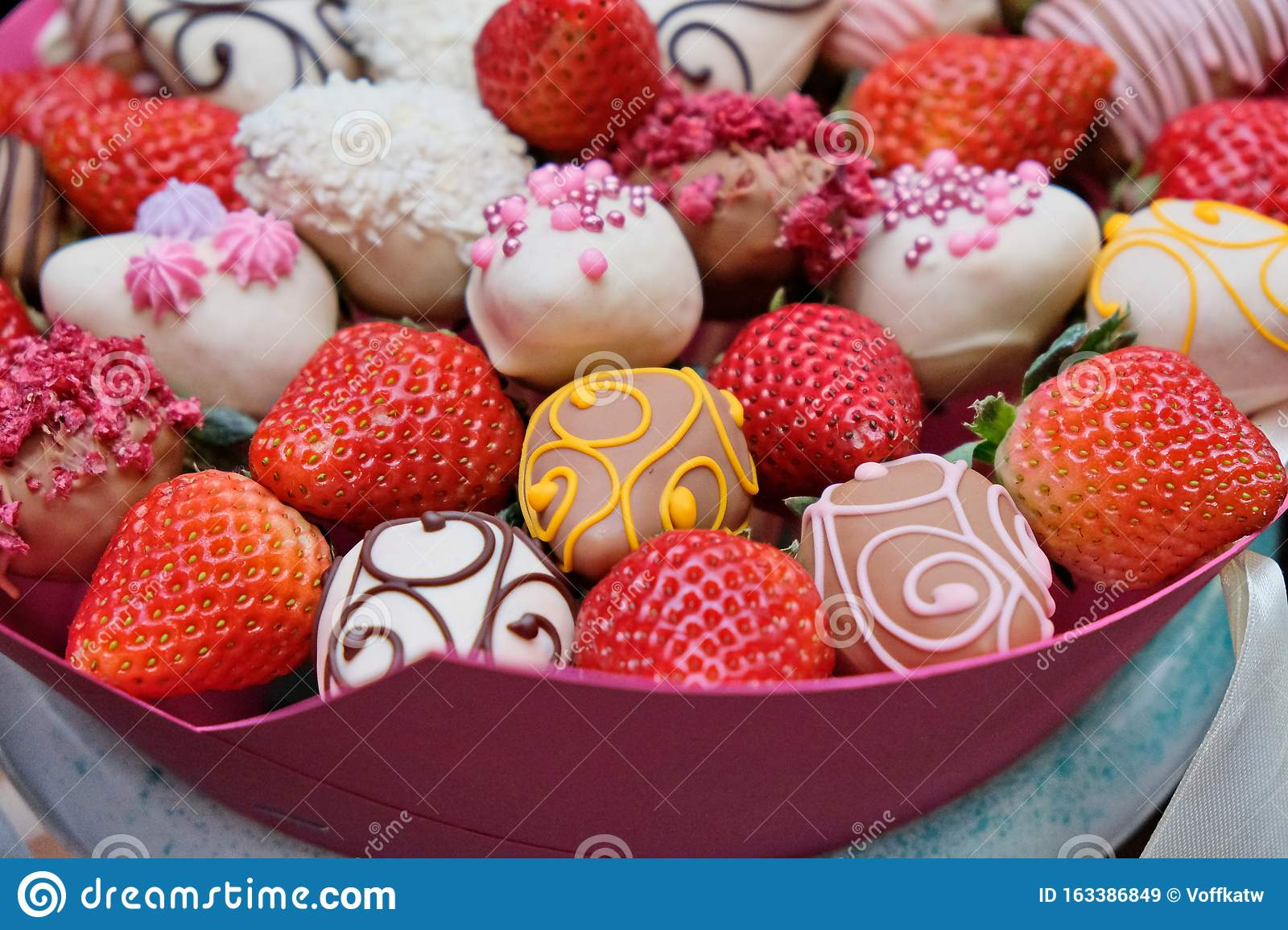 A Bouquet Of Chocolate Covered Strawberries With Different Toppings Stock Image Image Of Fruit Celebration 163386849