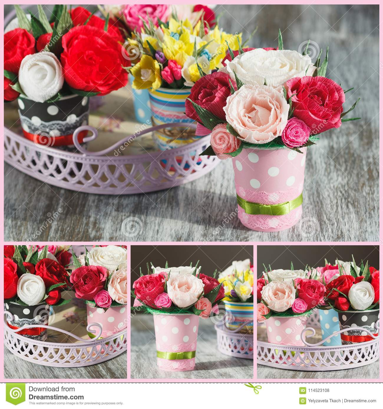 Bouquet From Colored Paper Flowers And Decorations Stock Photo