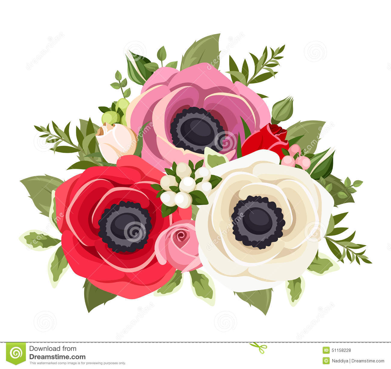 Bouquet Of Colorful Anemone Flowers Vector Illustration Stock