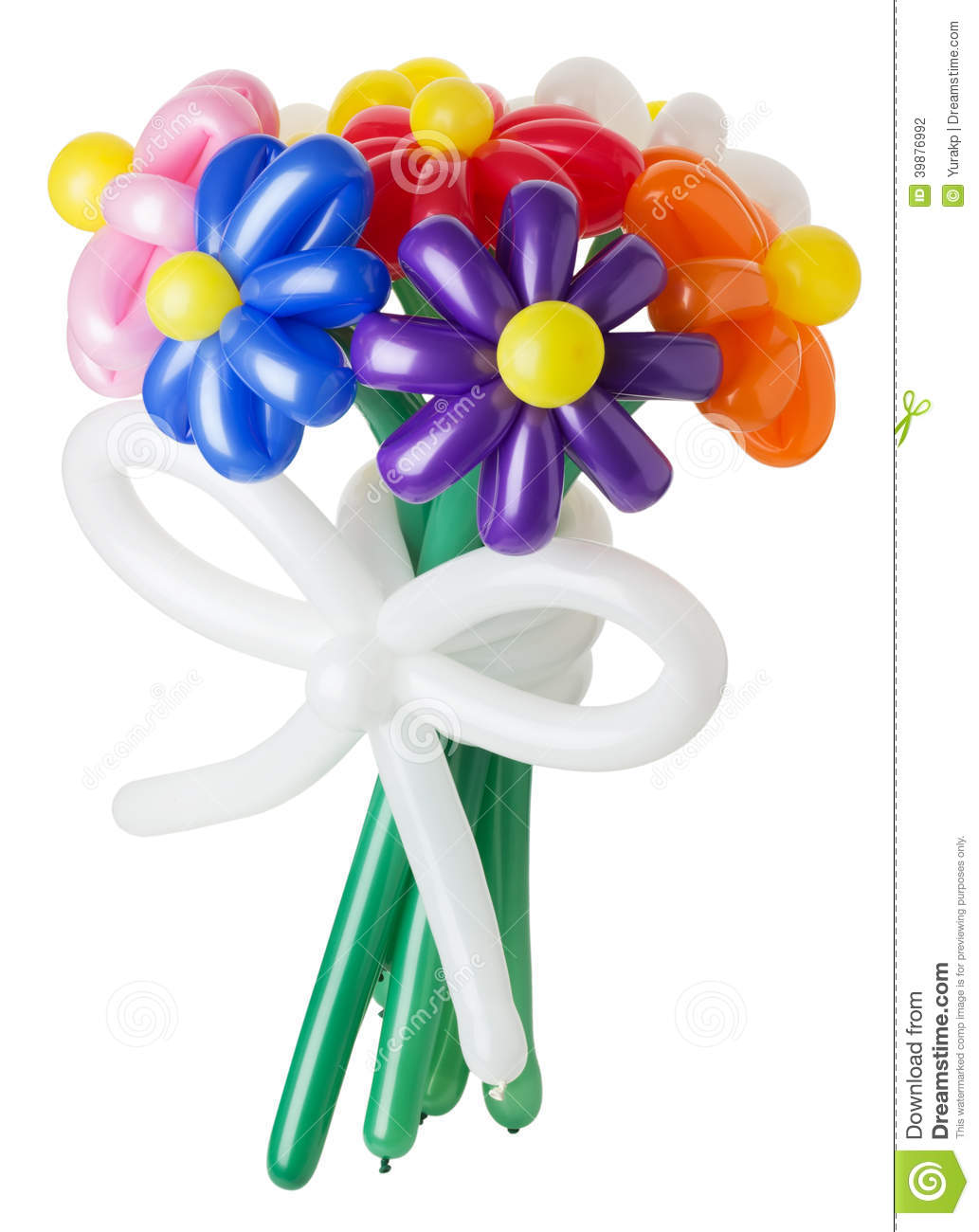 Bouquet with colorful balloon flowers on white background stock photo image 39876992