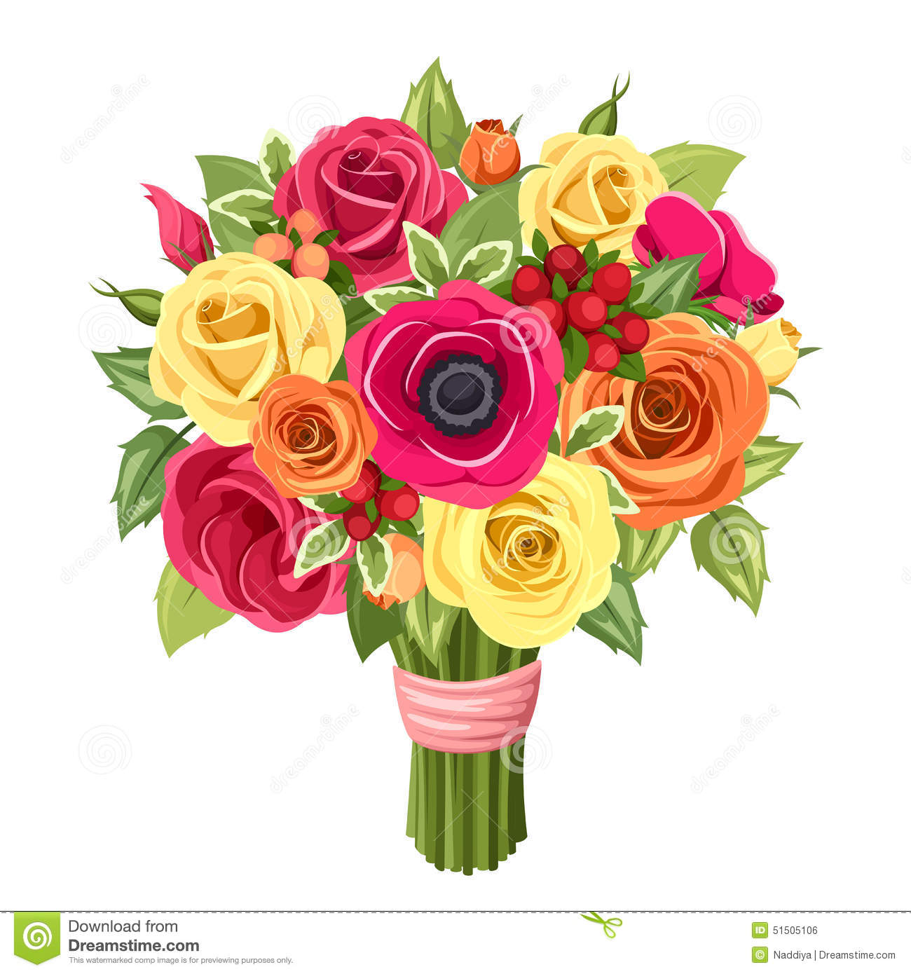 colorful roses lisianthus and anemones flowers vector illustration