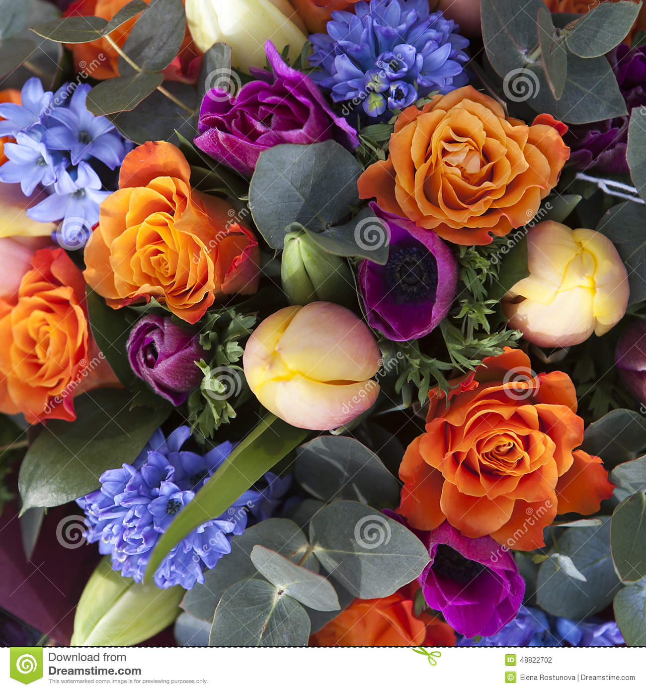 Bouquet Of Colorful Spring Flowers Tulip Ranunculus Hyacinth Daisy Anemone Stock Photo Image Of Bouquet Color 48822702