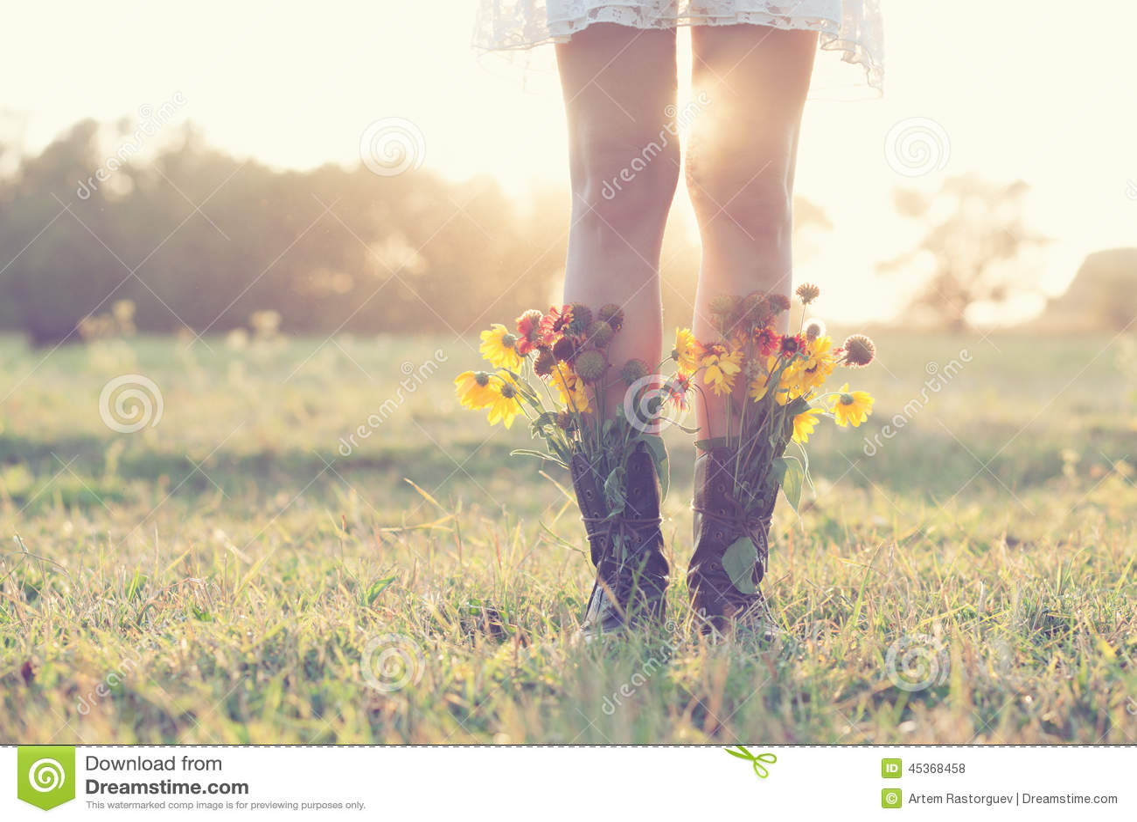Bouquet créatif dans les bottes