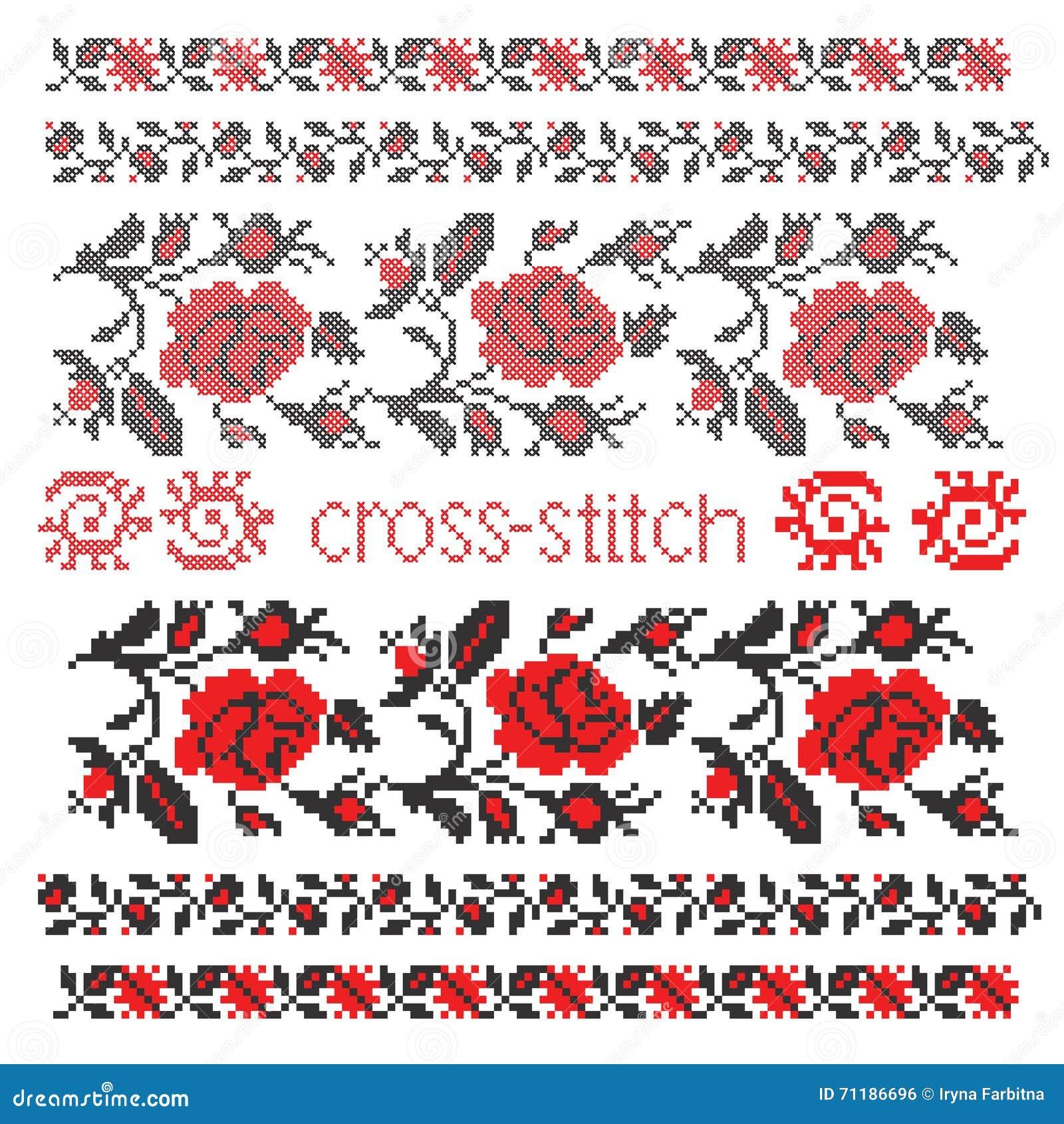 Cross Stitch Rose Embroidery Cartoon Vector Cartoondealer Com 27667601