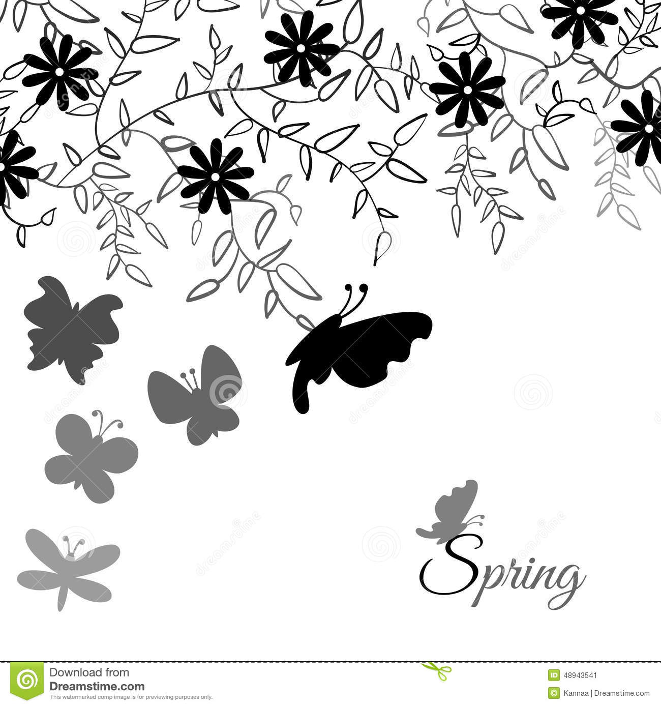 Bouquet Of Cute Flower And Butterfly Floral Stock Vector
