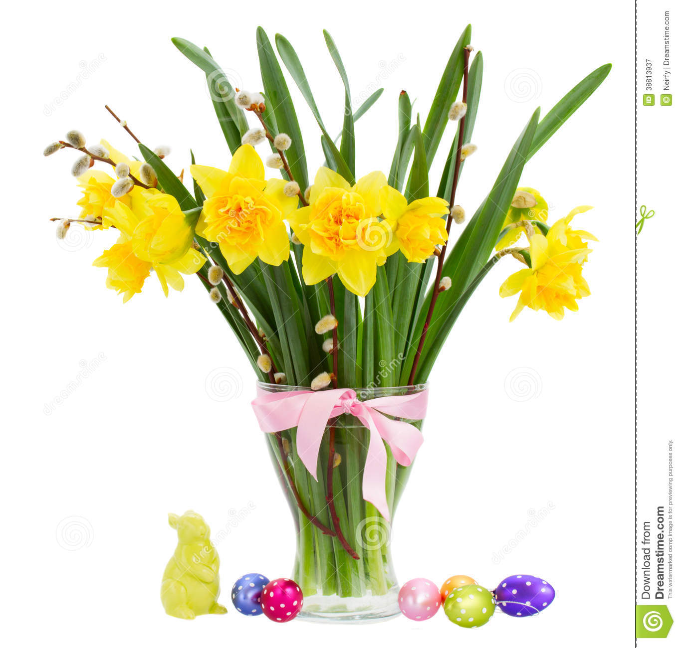 Bouquet Of Daffodils Flowers With Easter Eggs Stock Photo ...