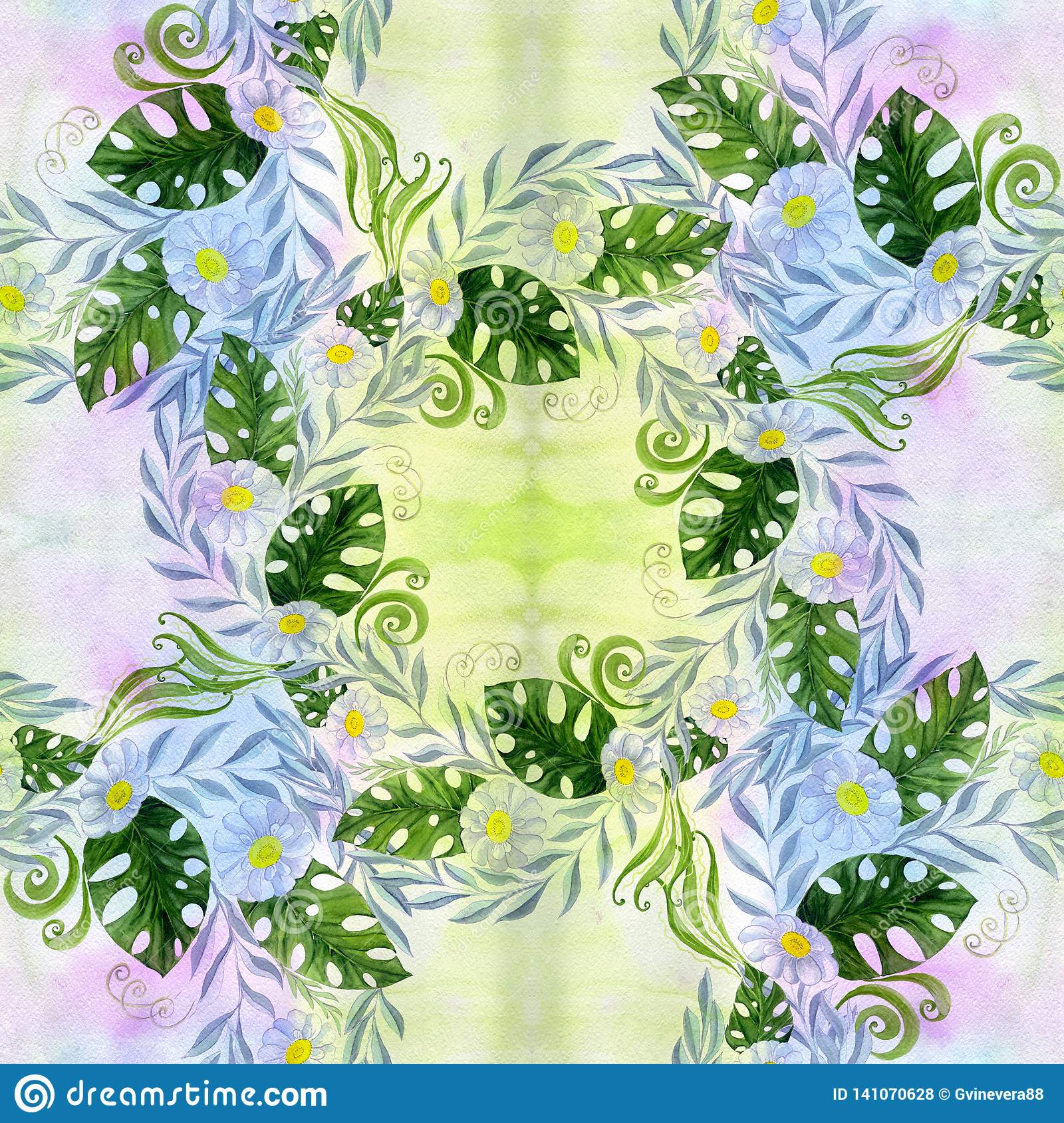 A bouquet of daisy flowers - flowers, leaves on watercolor background.