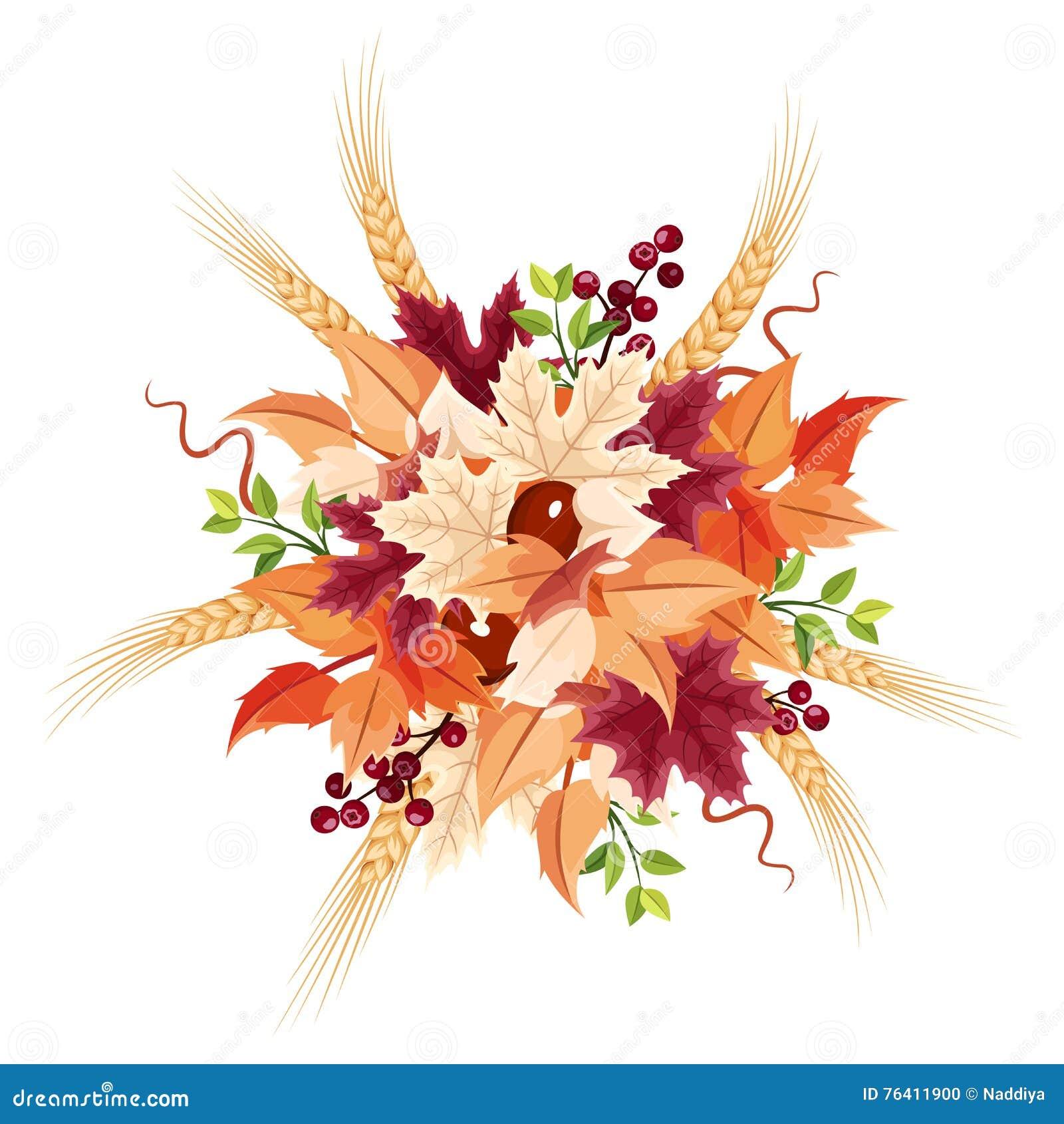 Bouquet de feuilles d 39 automne illustration de vecteur - Bouquet d automne ...