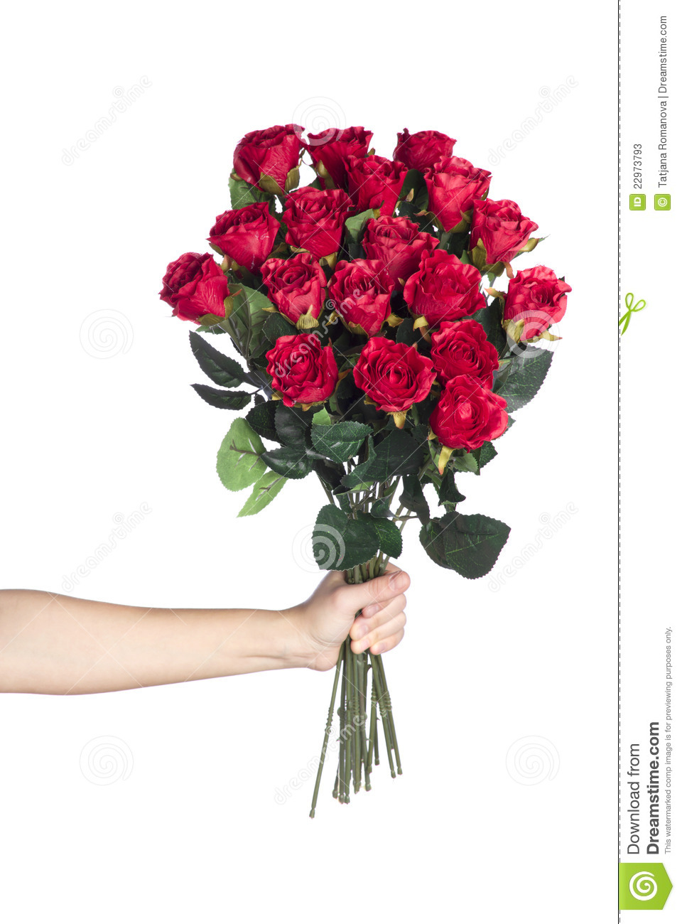 Bouquet de fixation de main des roses rouges