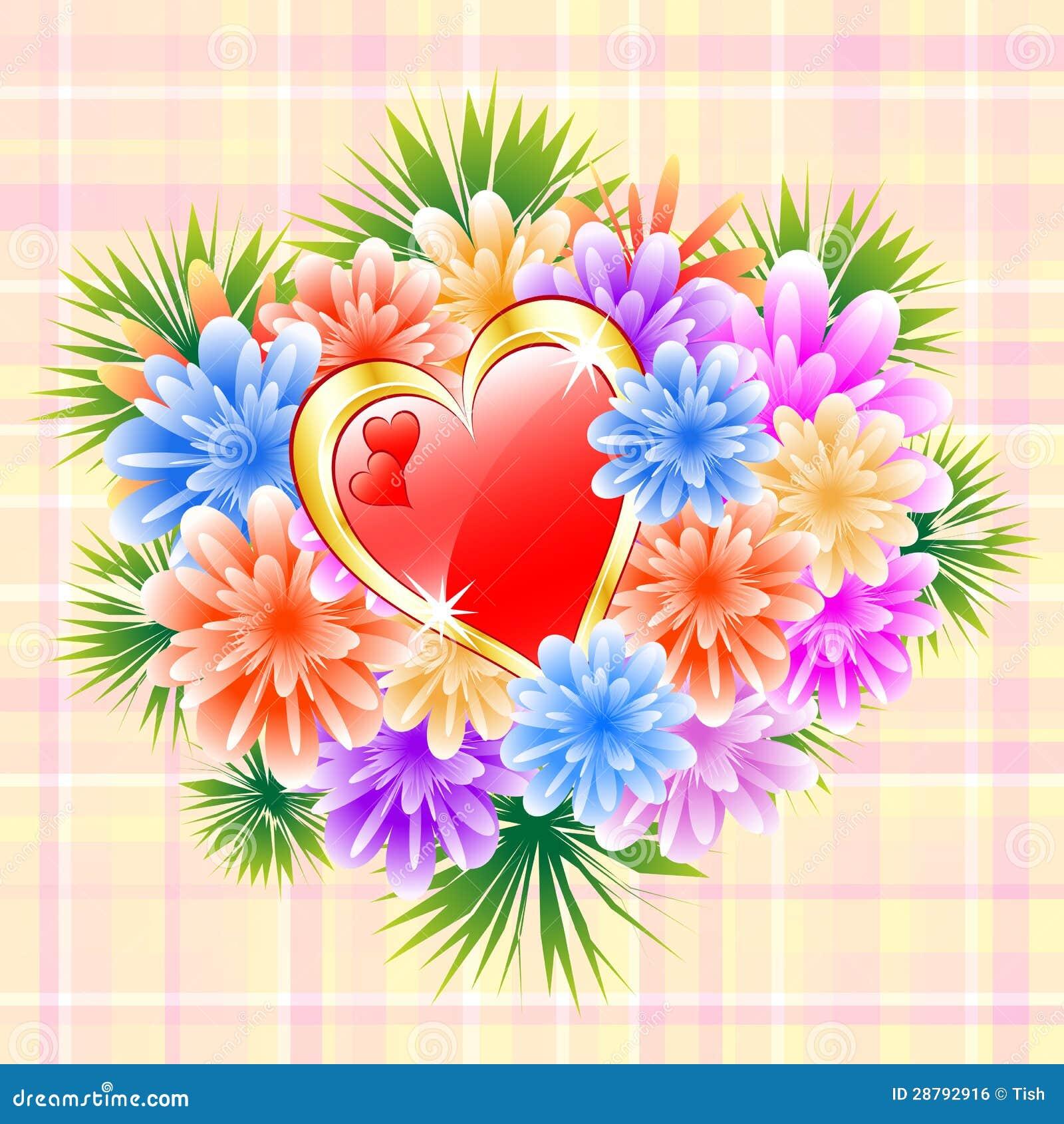 Bouquet de fleur avec le coeur rouge d 39 amour image libre - Bouquet de fleur en coeur ...