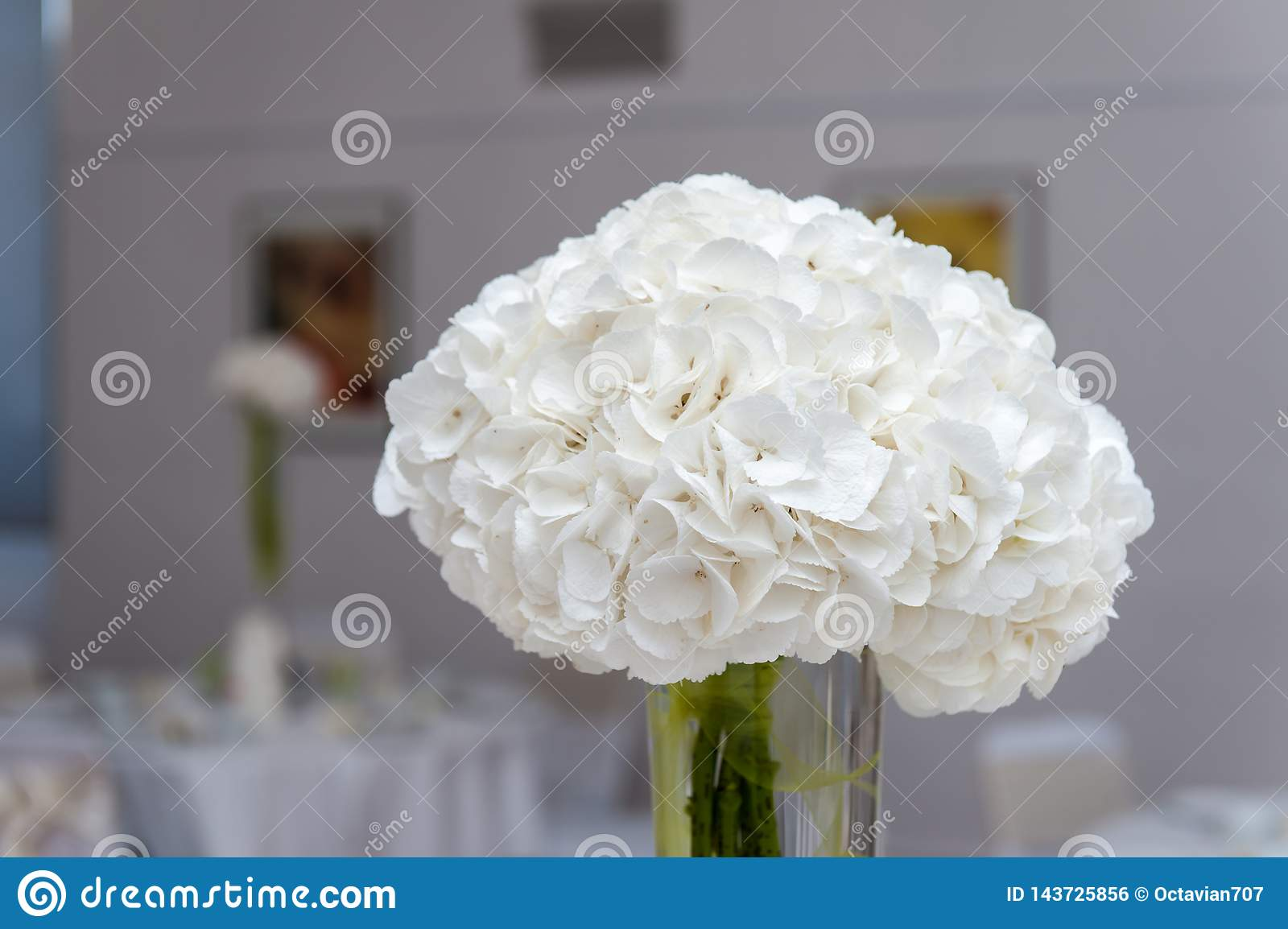 Bouquet de fleur blanche dans le vase sur la table