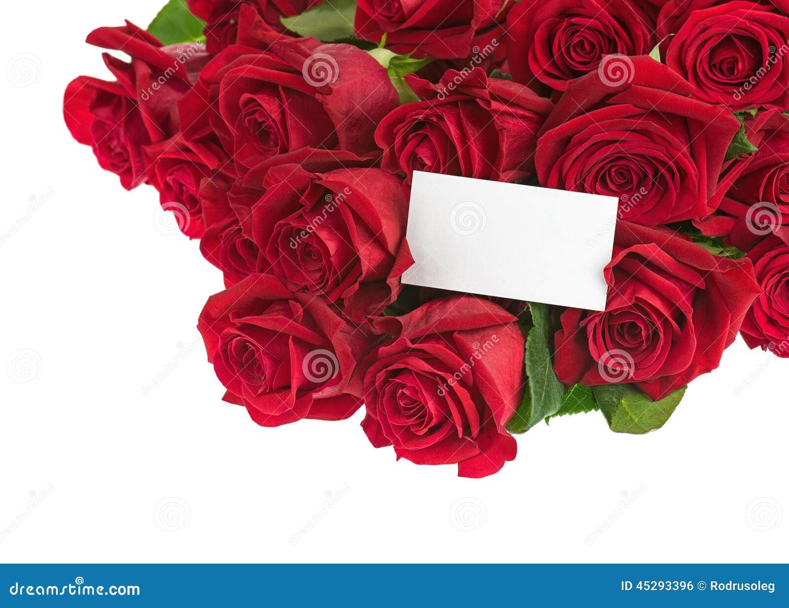 Bouquet de fleur des roses rouges et carte de voeux d for Livraison fleurs avec message