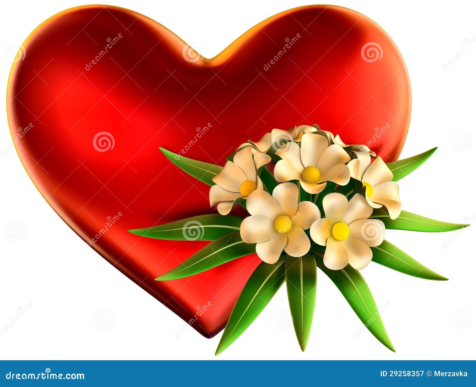 Bouquet de fleurs blanches avec le grand coeur rouge for Bouquet de fleurs coeur