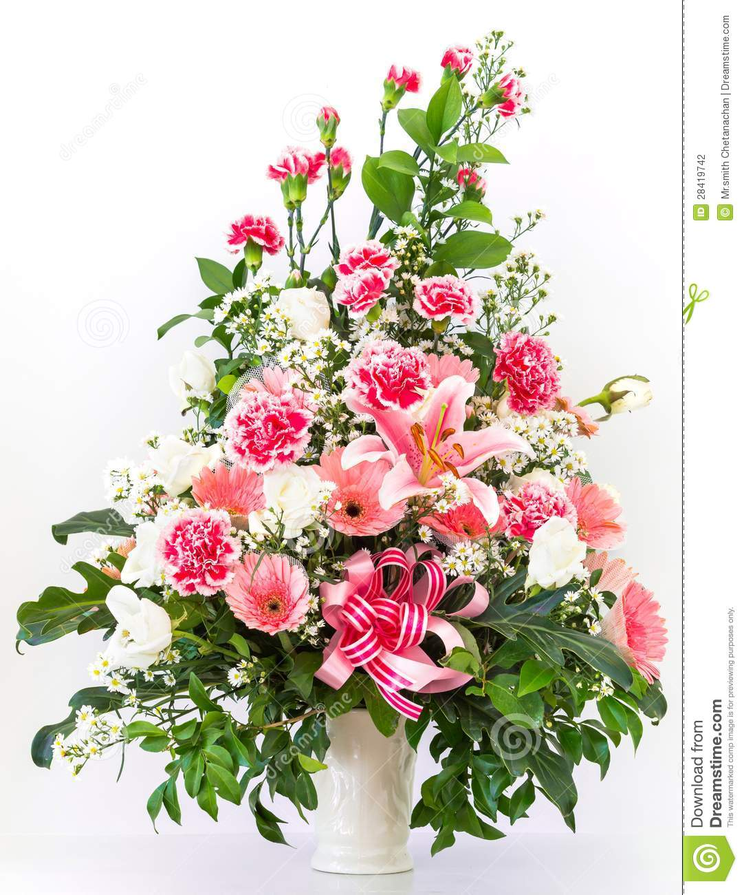 Bouquet de lis et de gerbera d 39 oeillet photo stock image for Bouquet de fleurs gerbera