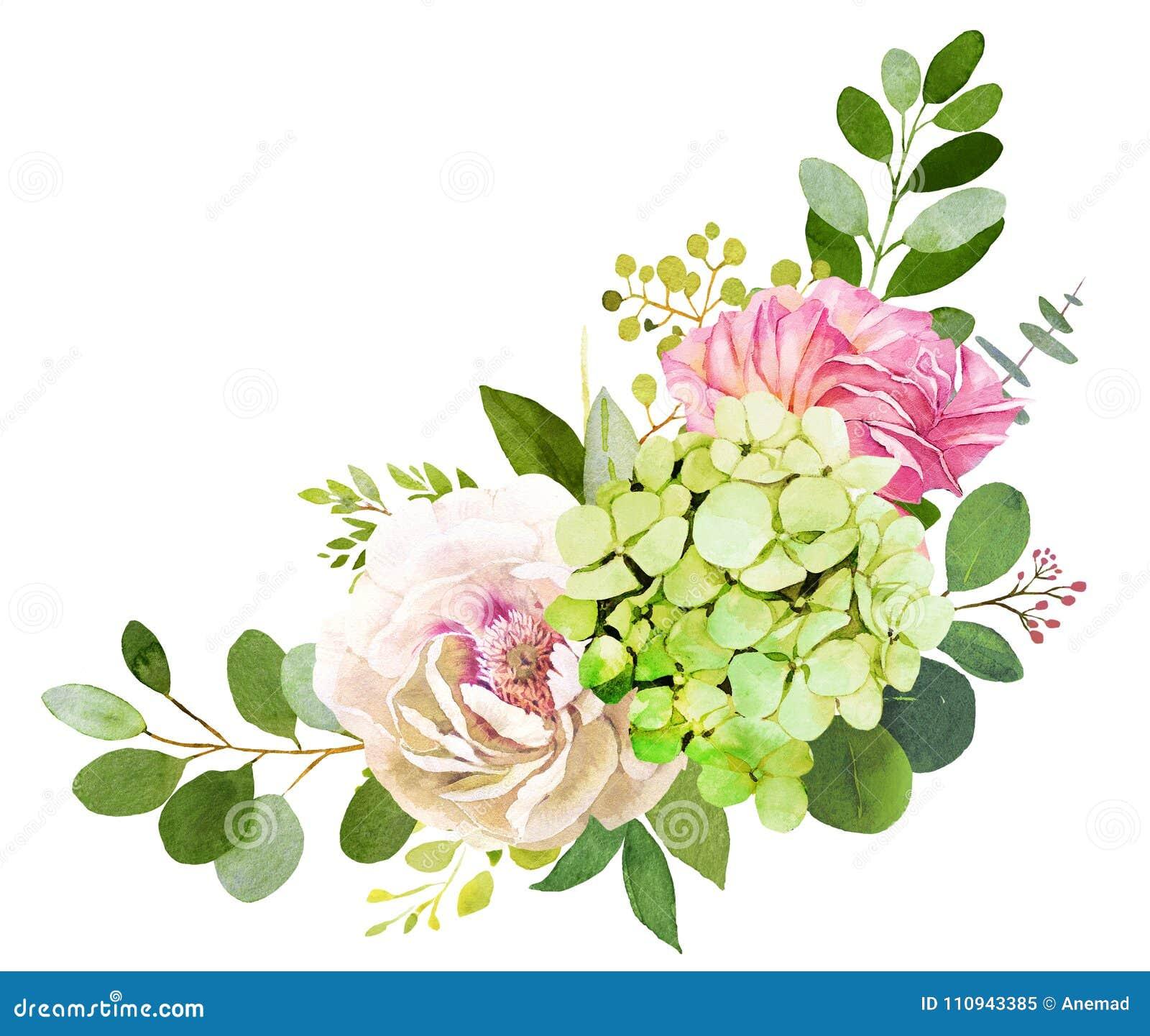 Bouquet de mariage Pivoine, hortensia et fleurs roses
