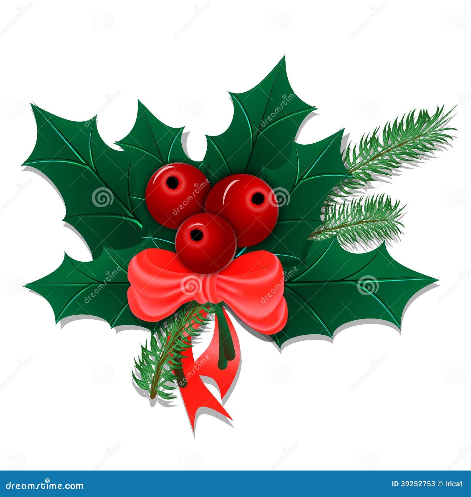 Bouquet De Noel Avec Des Feuilles Et Des Baies De Houx Illustration