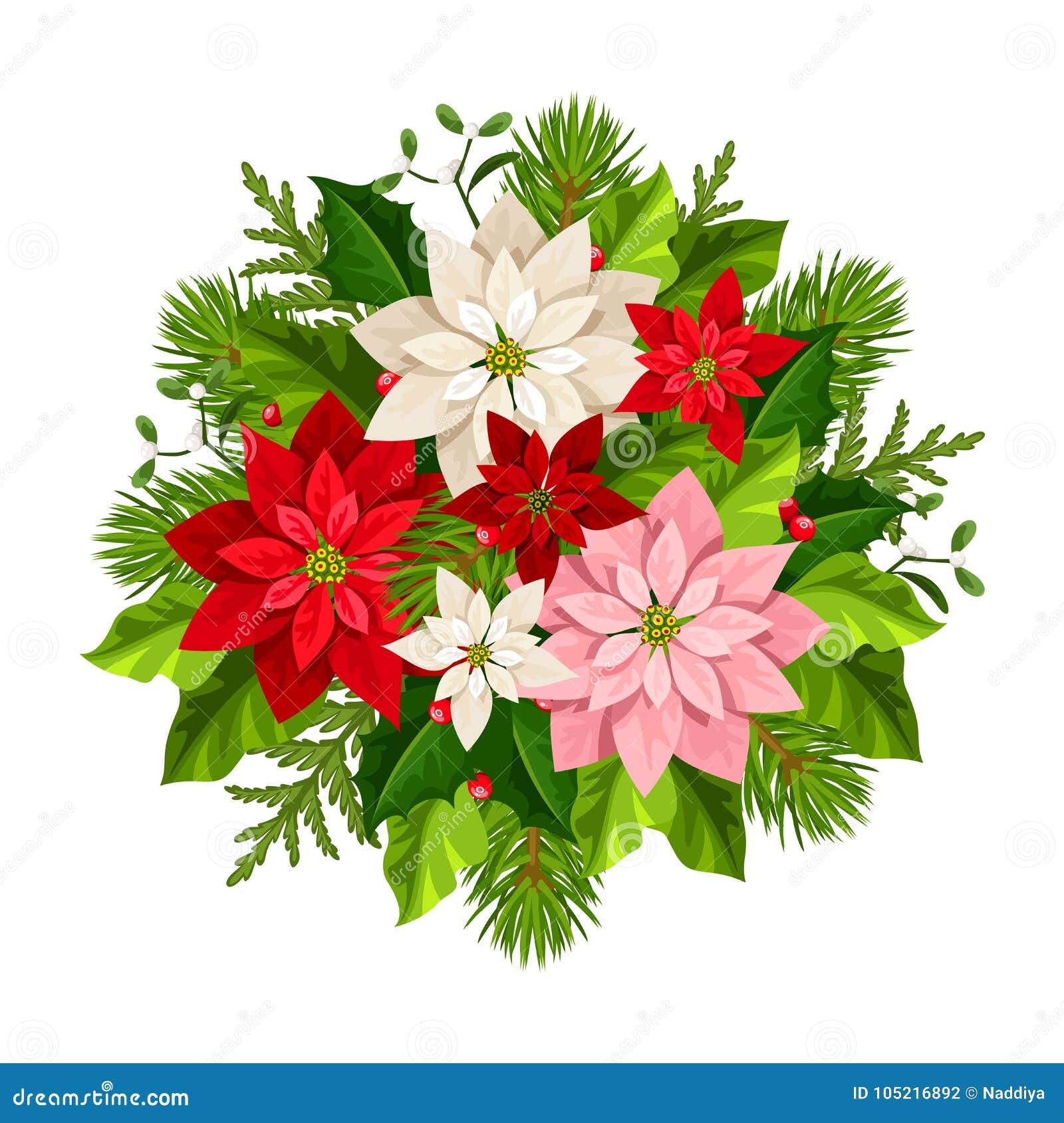 Bouquet De Noel Avec Du Houx bouquet de noël avec des fleurs de poinsettia, des branches