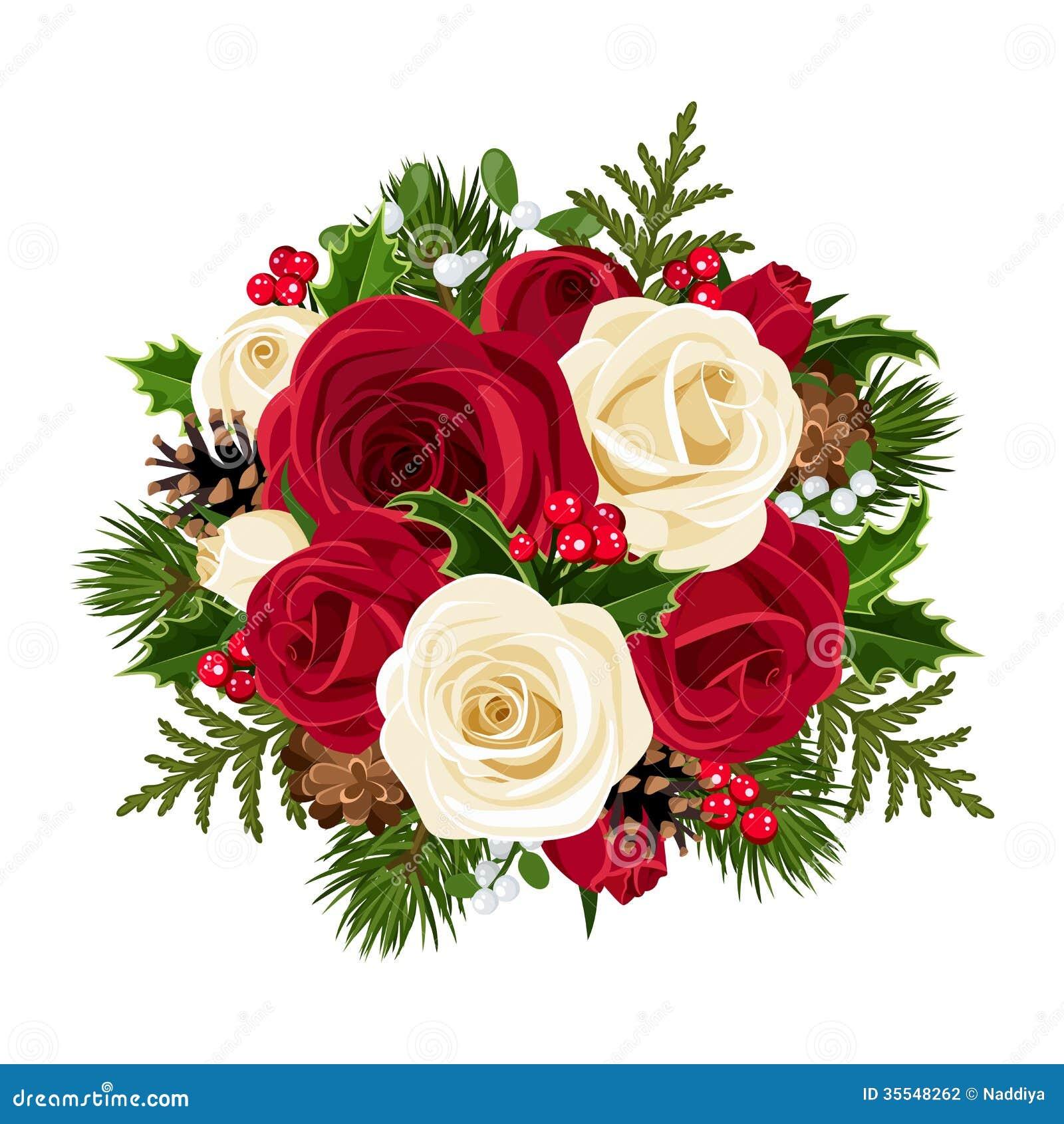 Bouquet De Noel Avec Du Houx bouquet de noël avec des roses. illustration de vecteur