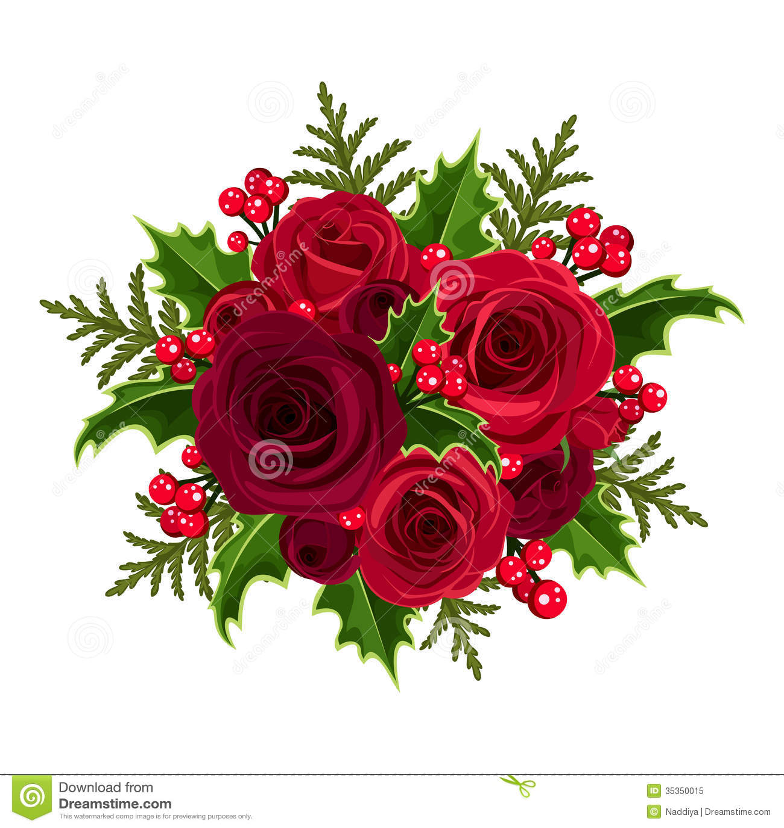 Bouquet De Noel Avec Du Houx bouquet de noël avec les roses et le houx. illustration de