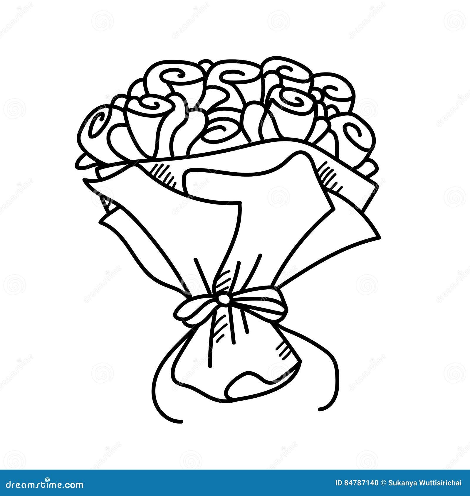 bouquet de rose d 39 illustration de dessin de dessin main lev e illustration stock. Black Bedroom Furniture Sets. Home Design Ideas