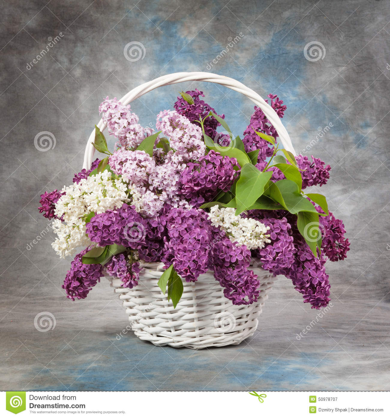 bouquet de source le muguet et lilas dans un panier photo stock image 50978707. Black Bedroom Furniture Sets. Home Design Ideas