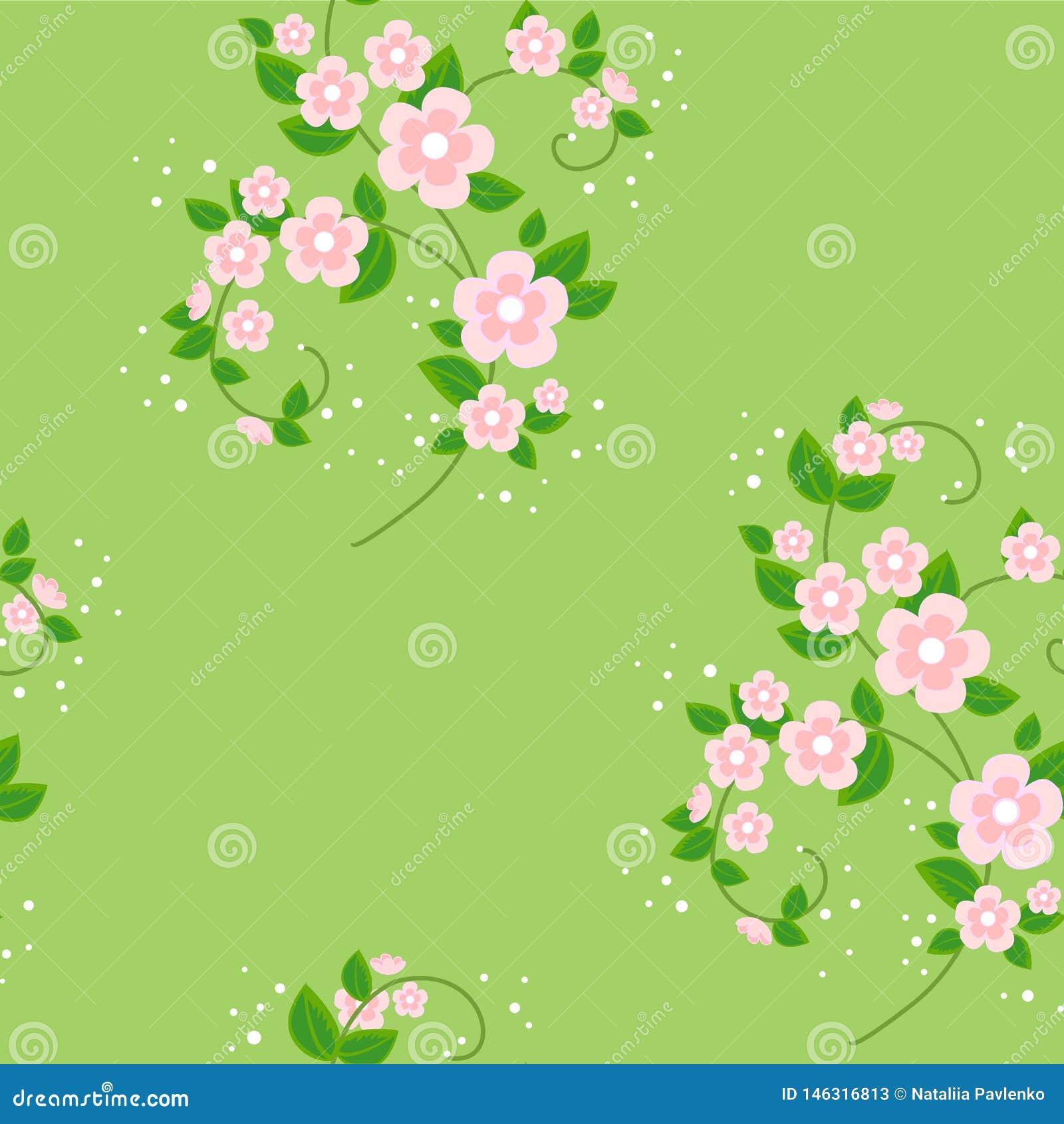 Bouquet des fleurs Beau fond de ressort Texture pour des vêtements de papier peint Illustration de vecteur