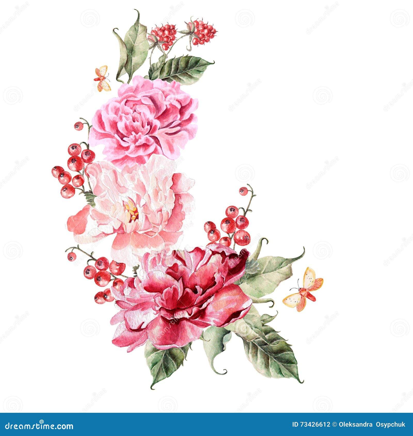 Bouquet Des Fleurs Des Baies Des Groseilles Et Des