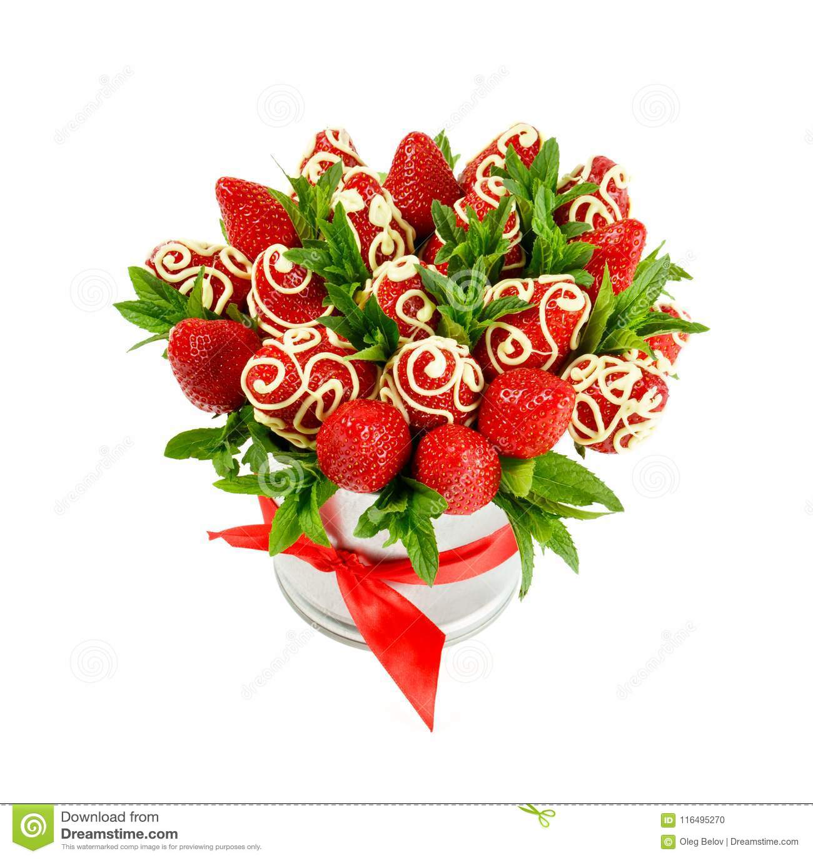 Extremement Bouquet Des Fraises Appétissantes Mûres, Décoré Du Chocolat Blanc BE-55