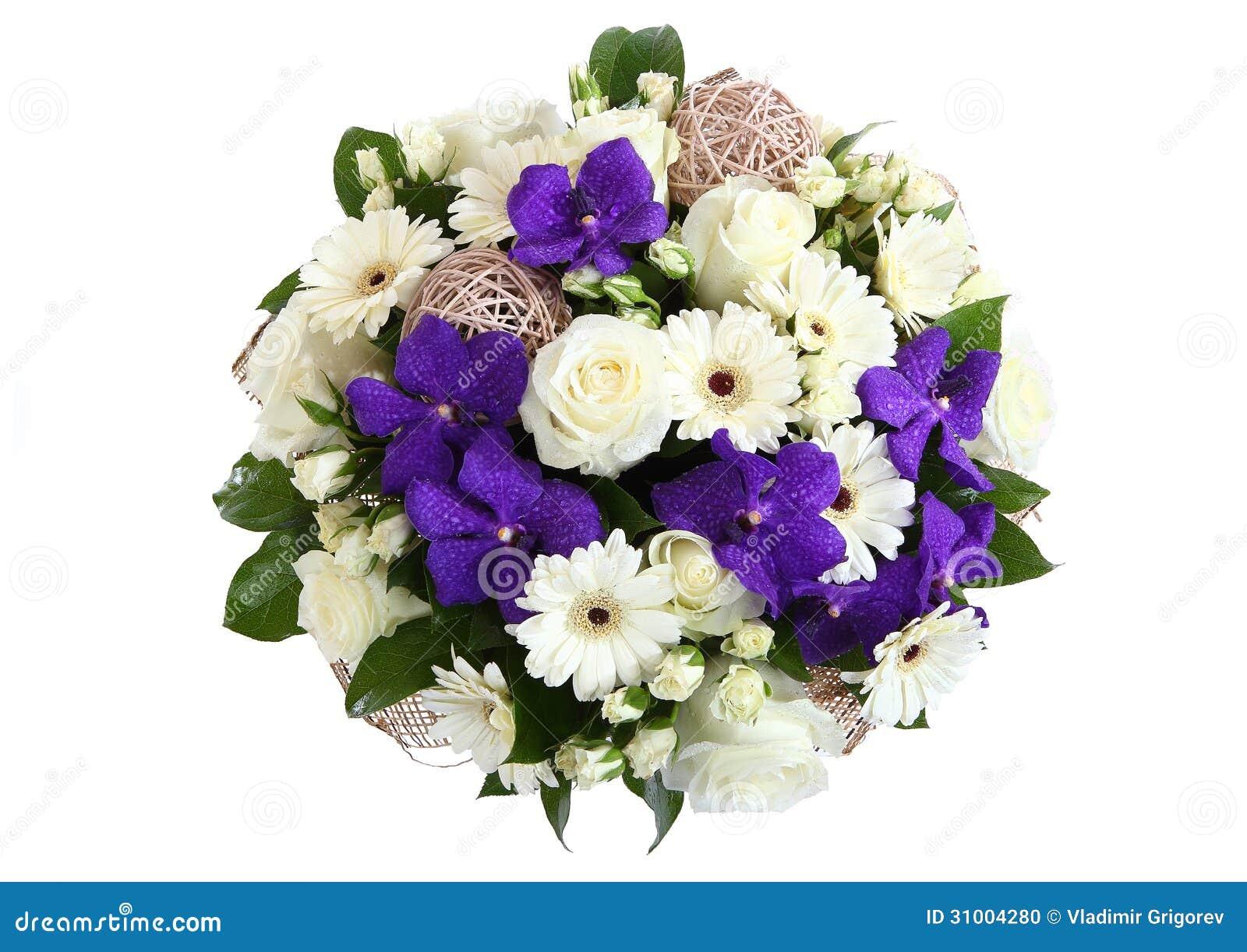 bouquet des roses blanches des marguerites blanches de gerbera et de l 39 orchid e violette photo. Black Bedroom Furniture Sets. Home Design Ideas