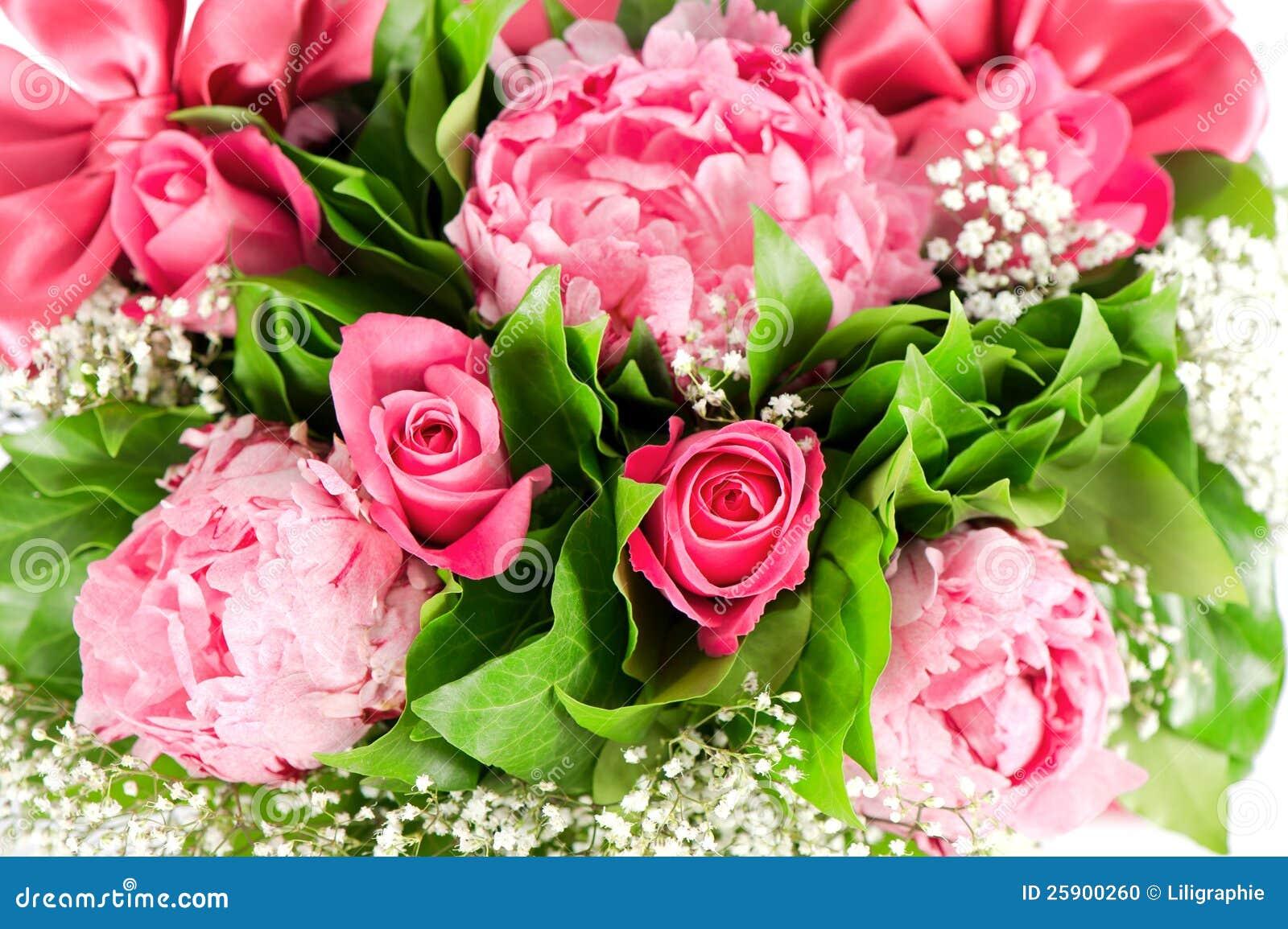 bouquet des roses et des fleurs roses de pivoine photo stock image 25900260. Black Bedroom Furniture Sets. Home Design Ideas