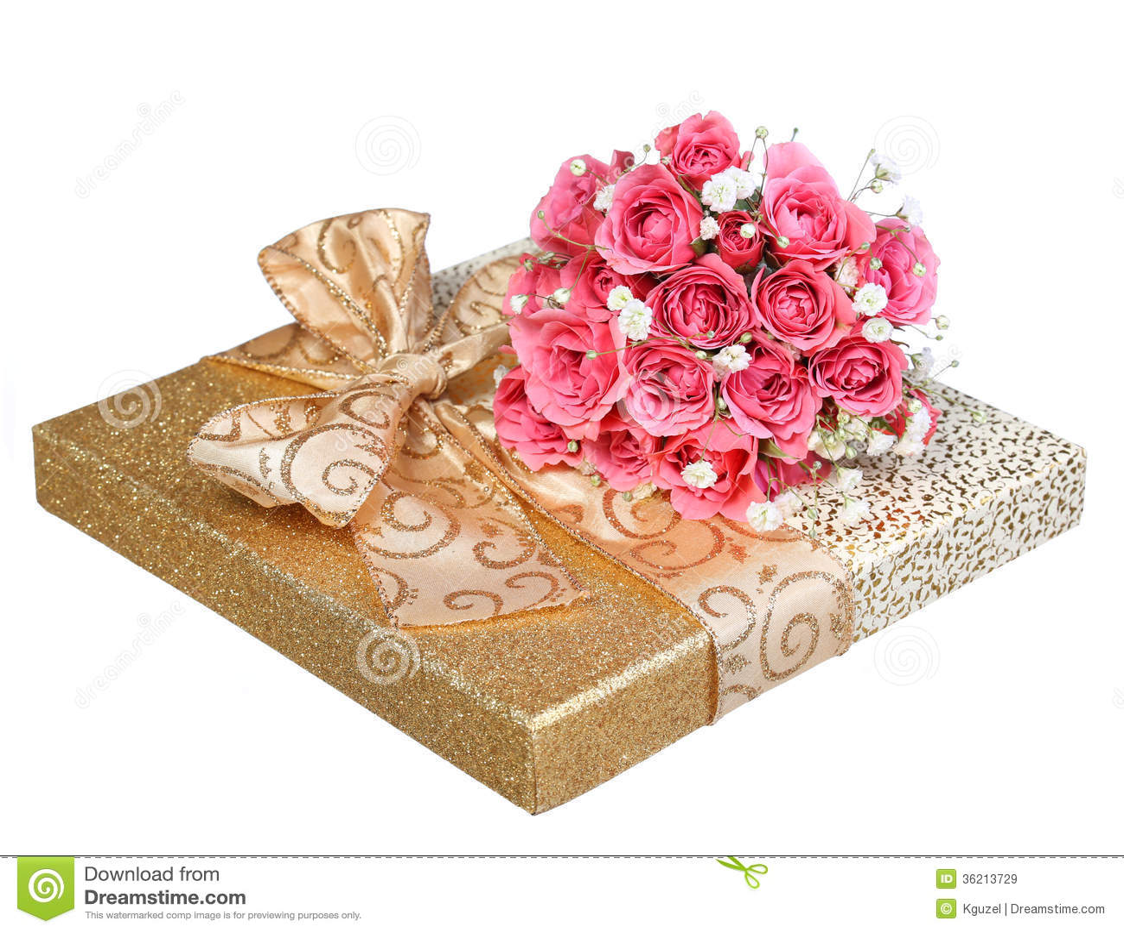 Bouquet des roses roses et du bo te cadeau d 39 or d for Bouquet cadeau