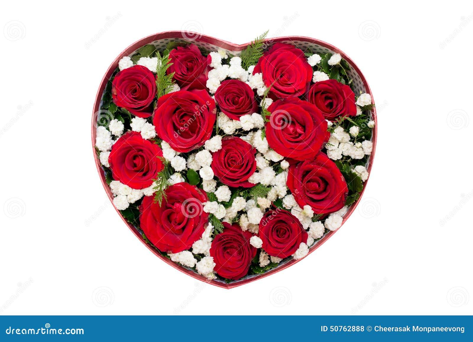 Bouquet des roses rouges et de la fleur blanche dans la bo te en forme de coe - Fleur en forme de coeur ...