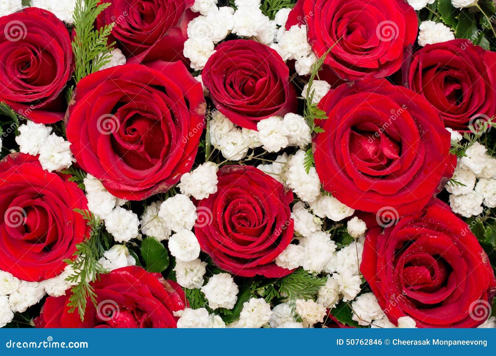 Bouquet des roses rouges et de la fleur blanche dans la boîte en forme de coeur