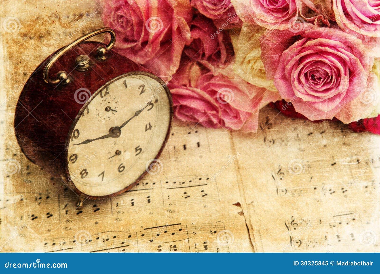 Bouquet des roses sur des notes de musique image stock image du fond bouquet 30325845 - Image bouquet de roses gratuit ...