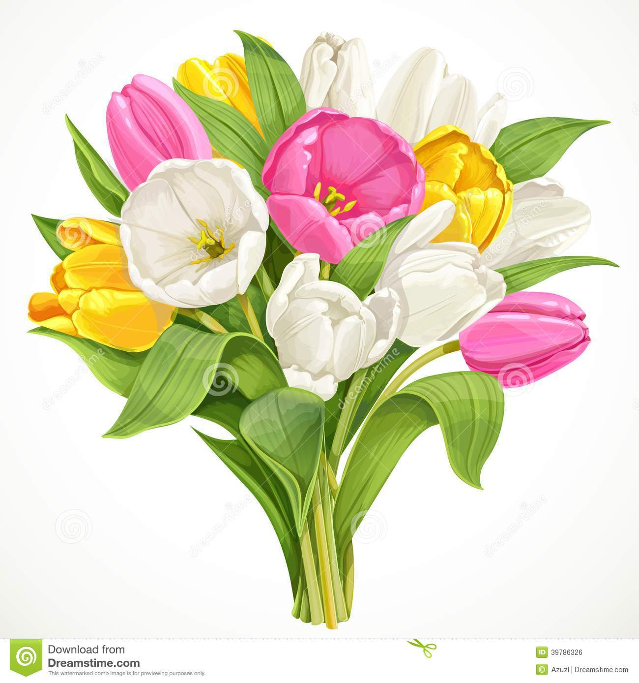 Bouquet des tulipes blanches roses et jaunes illustration for Bouquet de tulipes