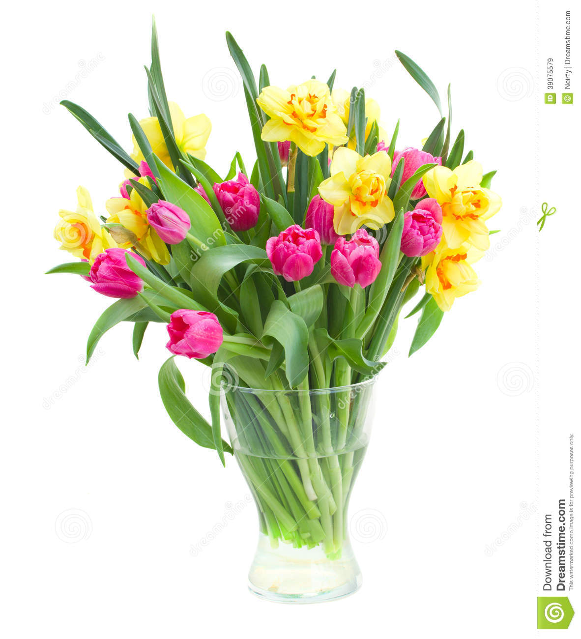 Bouquet des tulipes et des jonquilles dans le vase photo for Bouquet de tulipes