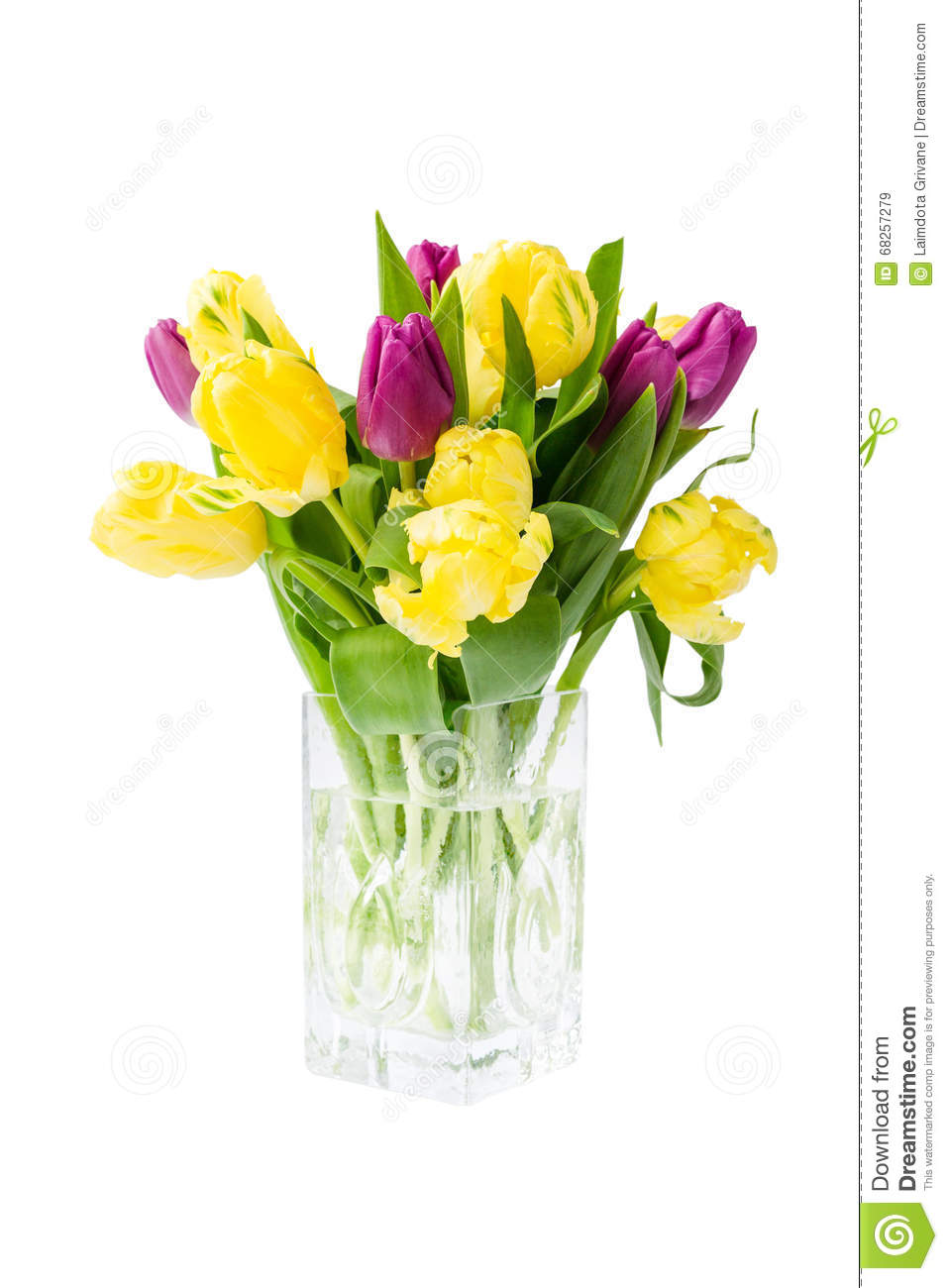 Bouquet des tulipes jaunes dans le vase d 39 isolement au for Bouquet de tulipes