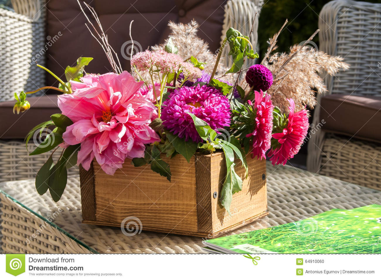 A bouquet of different flowers in a wooden box stock photo image download comp izmirmasajfo
