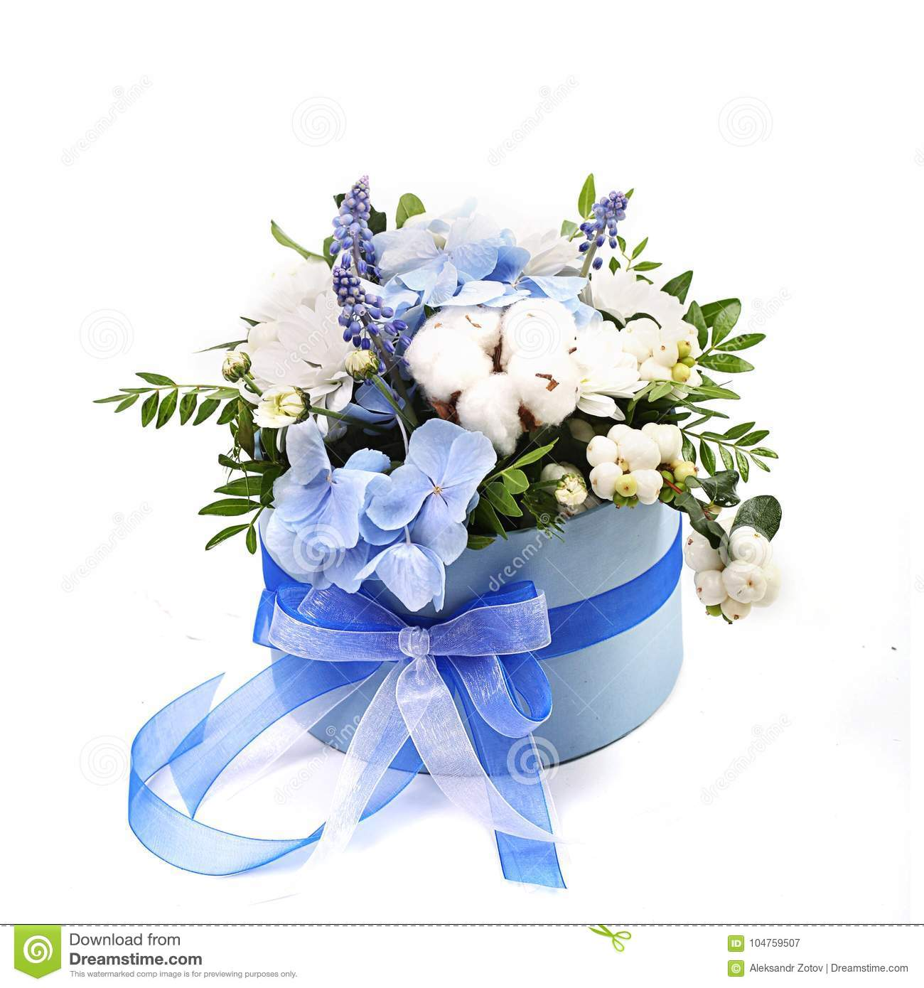 Bouquet Of Different Green Red Yellow Blue And Purple Flowers On