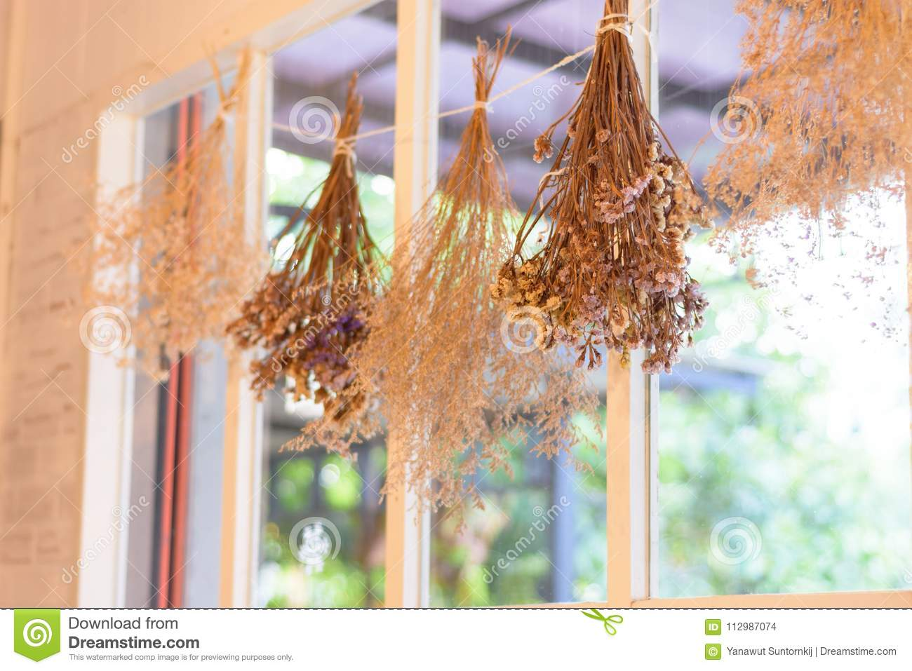 Bouquet Of Dry Flower And Grass Hanging On Wall Stock Photo Image Of Ancient Flower 112987074