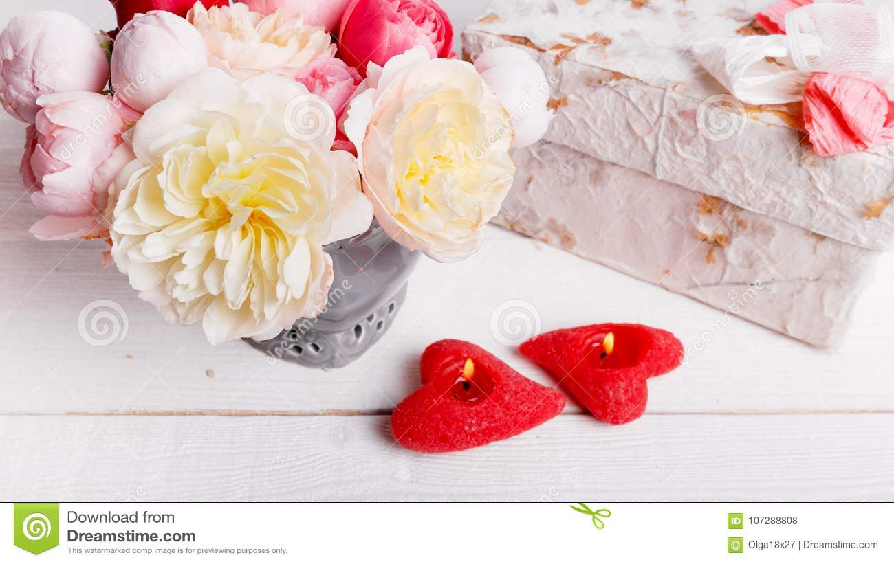 Bouquet Of English Rose In Vase, Gift, Red Candles In The Shape Of ...