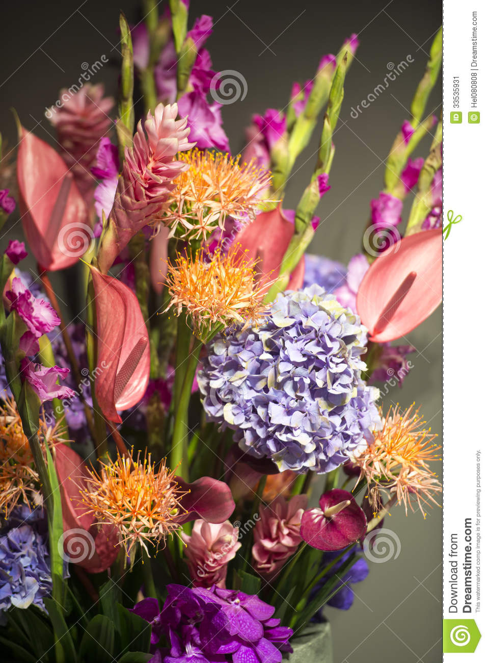 Bouquet With Exotic Flowers Stock Image - Image of green, flamingo ...